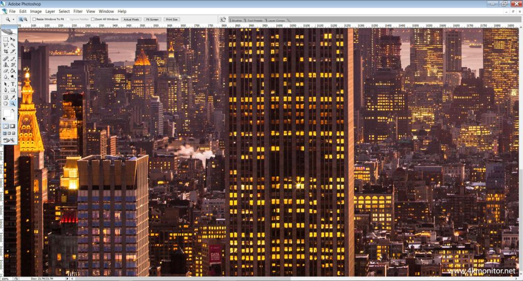 Photoshop auf einem Full HD Monitor mit 100% Zoom