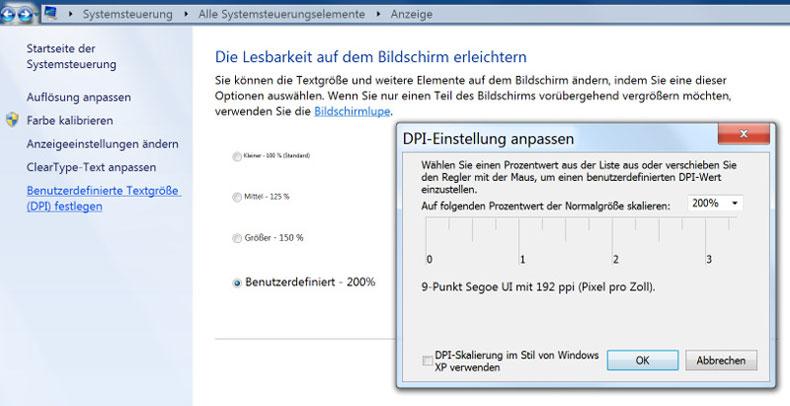 Windows-7-Skalierung