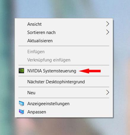Nvidia-Systemsteuerung-Desktop
